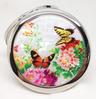 Wholesale Double Side Gift Mirror - Color Flower Round Cosmetic Mirror Shell Front Double Side Foldable Makeup Mirror Pretty Women Makeup Compact Mirror Valentines Gift 10pcs