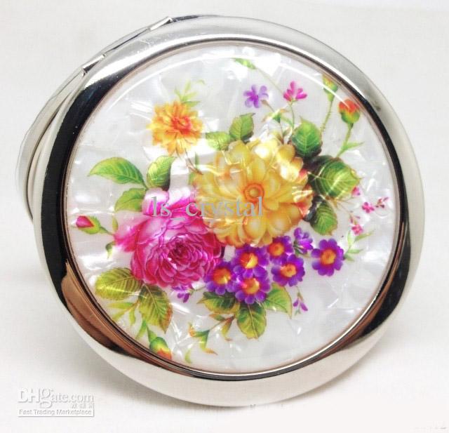 Cor Rodada Flor Espelho Cosmético Shell Frente Double Side Dobrável Maquiagem Espelho mulheres bonitas da composição compacta espelho presente dos Valentim