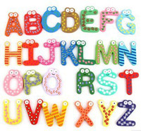 Wholesale Refrigerator Letter Magnets - Cute Set of 26 English letters Refrigerator Magnetic Kids Intelligent Fridge Magnet baby Early education tool New
