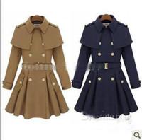 Wholesale Trench Blue Cape Coat - new monde slim women's coats women's trench coats women's coats Women Outwear Cape-style woolen coat