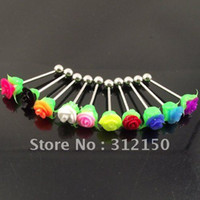 Wholesale 50pcs mixed colors rose tongue ring flower tongue nail body piercing jewelry lip eyebrow