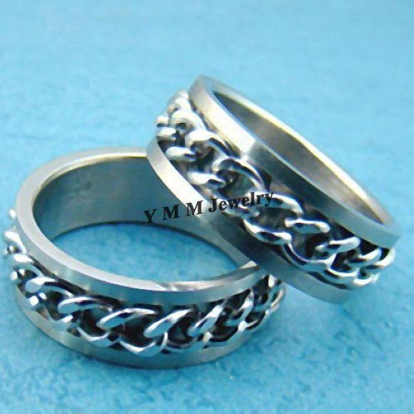 Anéis de alta Qualidade dos homens Anéis de Dedo Rotativa de Aço Inoxidável de 8mm de Largura Frete Grátis