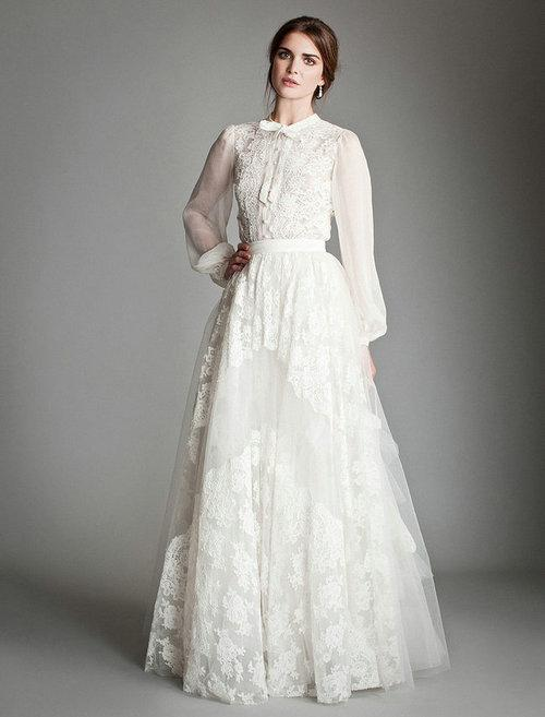 Discount Cheap Long Poet Sleeve Lace Wedding Dress Uk Temperley London High Neck A Line Applique Bow Tie Floor Length Skirt Bridal Gowns