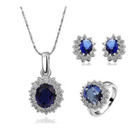 Wholesale Swarovski Crystal Ring Blue - Swarovski Elements 18K gold Platinum plated crystal gem stone ball Ring Earring Necklace set High quality Wedding free shipping ks081
