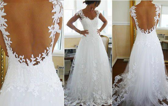 Crystal Lace Wedding Dresses White Crew Neck Cap Sleeves Lace Up ...