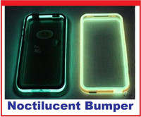 Wholesale Iphone Bumper Glow - Hot selling Glow in the Dark for phone Noctilucent Bumper Frame TPU Case cover for Iphone 4 4S Mix colors