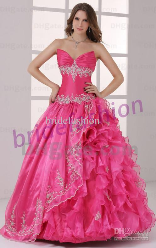 Best Design!!2013 Newest Style High Quality Strapless Ball Gown Applique Crystal Ruffle Piping Custom Made Organza Quinceanera Dress