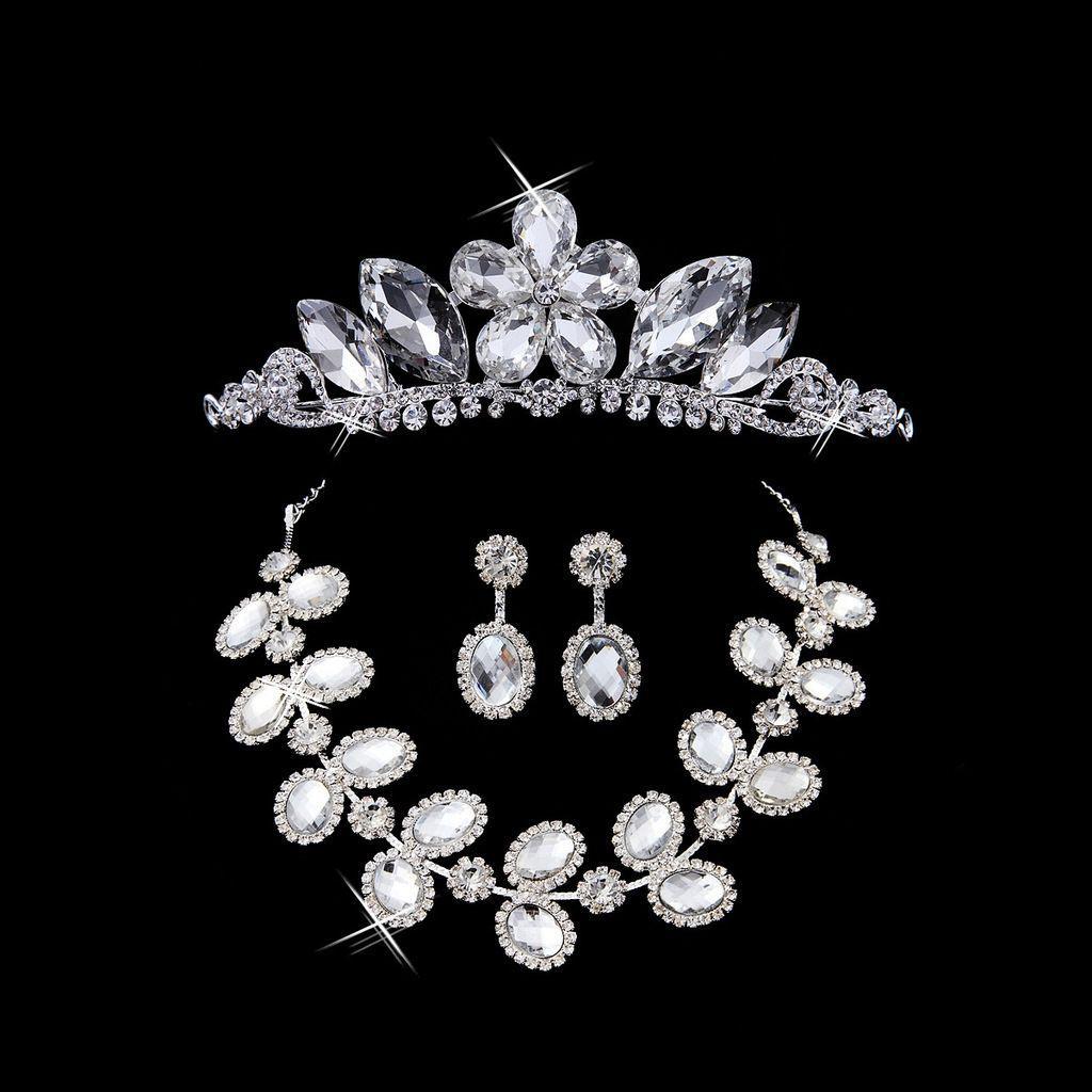 Bridal jewelry bridal accessories wedding headdress three piece bridal jewelry bridal accessories wedding headdress three piece sets of chain crown wedding bridal n junglespirit Choice Image
