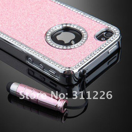 Wholesale Iphone 4s Chrome Cases - Luxury Glitter Diamond Chrome Rhinestone Hard Case Cell Phone Cases Bling Cover for iphone 4 4S 4G