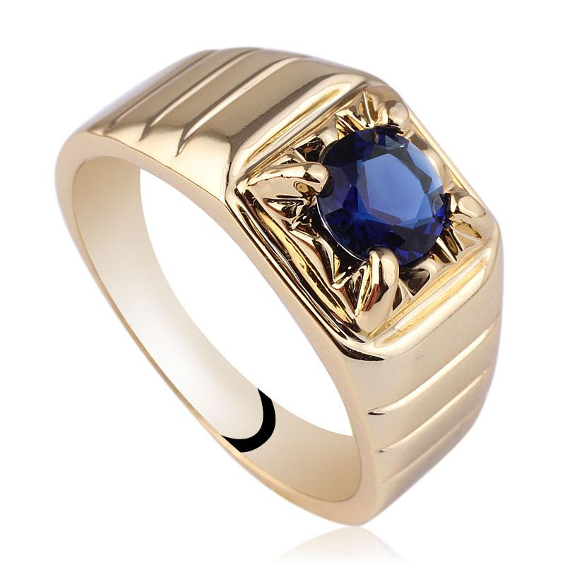 2018 New Mens 6mm Round Blue Sapphire Gold Finish S925 Sterling ...