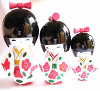 Carved carved wooden doll - New Sets KOKESHI ORIENTAL JAPANESE WOODEN DOLLS