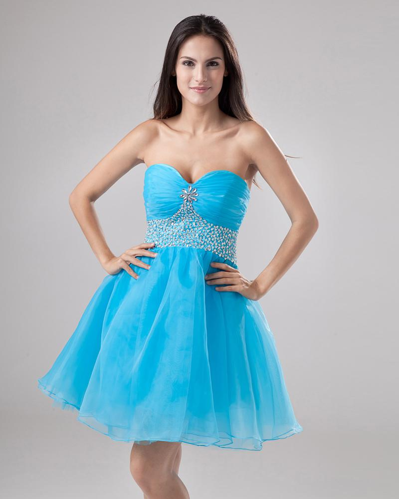 A Line Sweetheart Mini Short Blue Organza Beads Pleated Sleeveless Bridesmaid Dresses Junior Dress