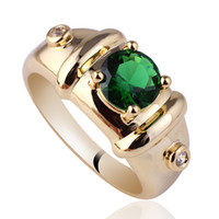 Wholesale mens sterling silver stone rings for sale - Group buy Royal Mens mm Round Green Emerald Gold Finish Sterling Silver Ring MAN GFS Sz R115
