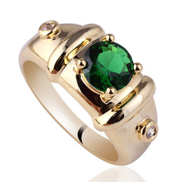 Wholesale Mens Rings Stones - Royal Mens 7mm Round Green Emerald Gold Finish Sterling Silver Ring 925 MAN GFS Sz 10 11 12 R115