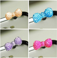 Wholesale Crystal Bowknot Iphone - Free Ship 100pcs 3.5mm Headset Earphone Crystal Butterfly Ribbon Bowknot Earphone Anti Dust Plug Dustproof Ear Cap for iPhone 5 5G 4 4S
