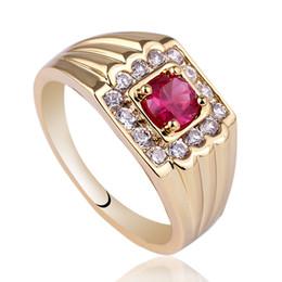 Ouro cheio rubi anel on-line-Único Mens Vermelho Rubi De Ouro De Prata Esterlina Anel 925 HOMEM GFS Tamanho 10 11 12 13 R116