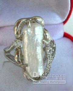 affascinante guscio bianco perla argento donna Misura dell'anello: 7.8.9