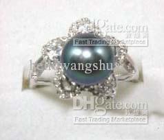 Bague pour femme en argent avec perle noire et cristal taille 6.7.8.9