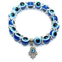 Wholesale Silver Chain Turkey - Turkey Evil Eye Charms Bracelet Resins, plastics Charms Beads 2016 New models fashion women men yanyan2013 W09 W11