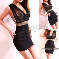 Wholesale Street Dresses Red Black - Sexy Low-Cut Gold Sequin Tulle Backless Close-Fitting Clubbing Black Mini Dress White Blue Red Dresses
