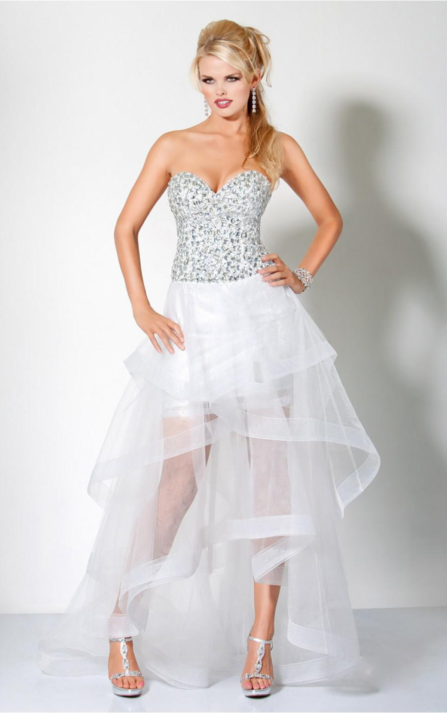 Sweetheart Short White Prom Dresses Rhinestone Lace-up Organza ...