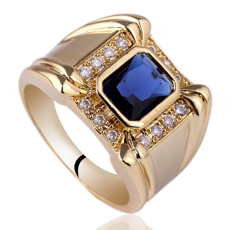 2018 Mens 4 Claw Oblong Blue Sapphire Sterling 925 Silver Ring Man ...