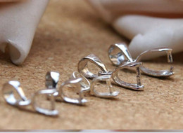 Wholesale Sterling Silver Small Pendants - (small Size) 925 Sterling Silver plated Clasps & Hooks clip Bail For Pendant DIY Craft Jewelry 10pcs lot