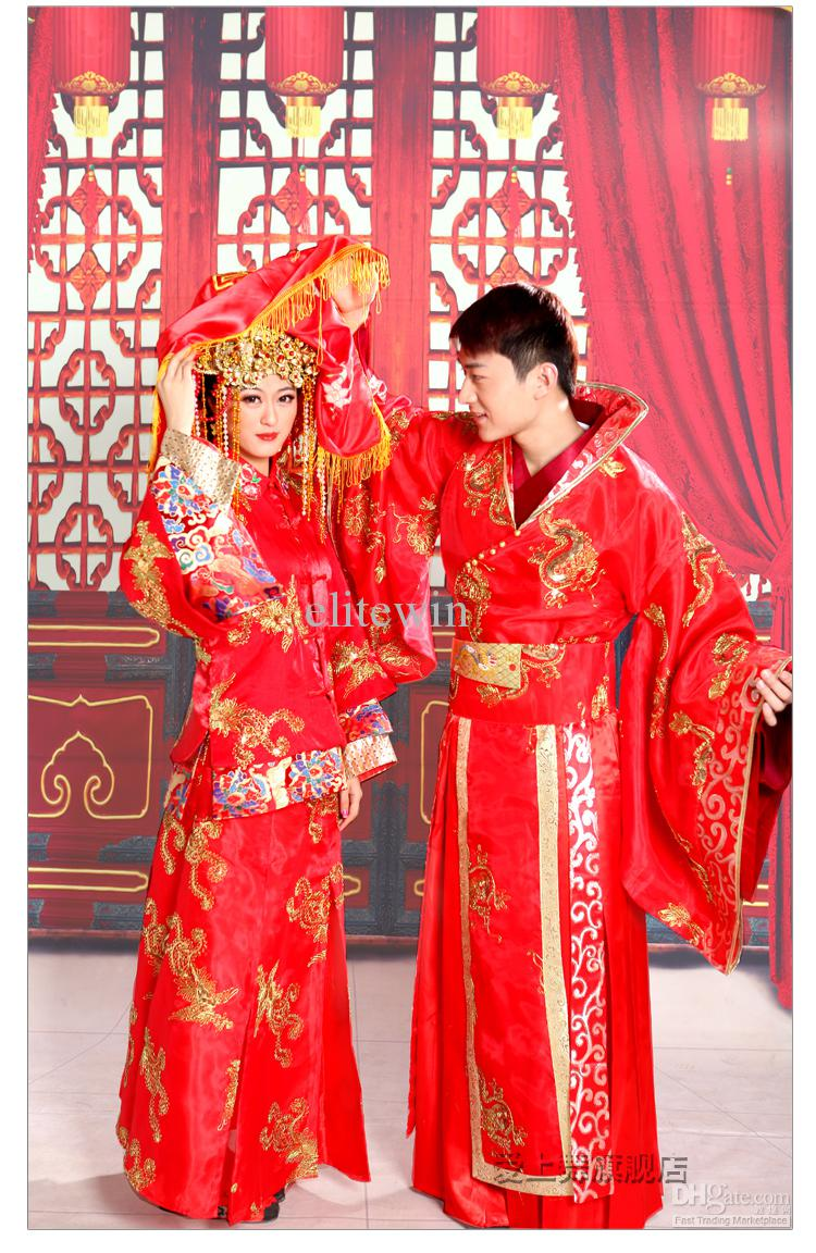 Vintage Chinese Red Traditional Wedding Dress Toast