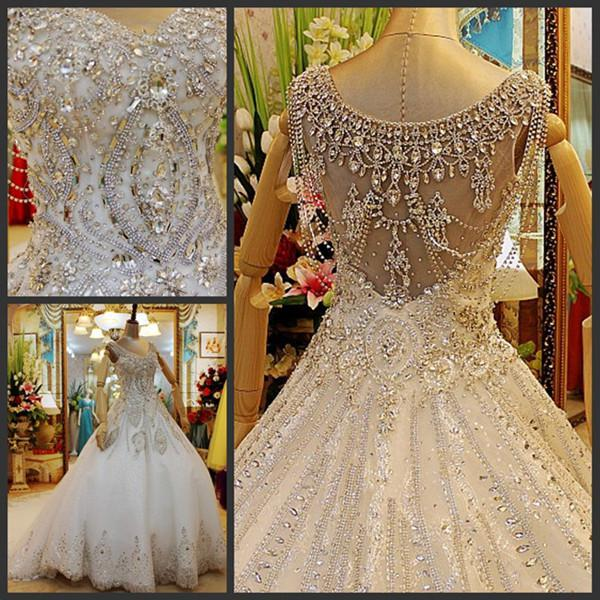 Wedding Gowns With Swarovski Crystals: Discount Amazing Swarovski Crystals V Neck Appliques A