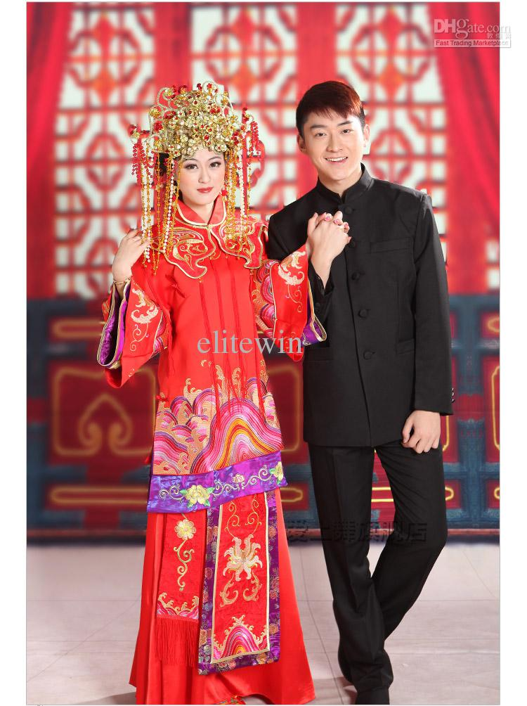 Noble Luxury Chinese Red Traditional Wedding Dress Toast Cheongsam Bride And Groom Wedding Suit Heavy Heandwork Embroider Dhl Free Hippie Wedding Dress ...  sc 1 st  DHgate.com & Vintage! Noble Luxury Chinese Red Traditional Wedding Dress Toast ...