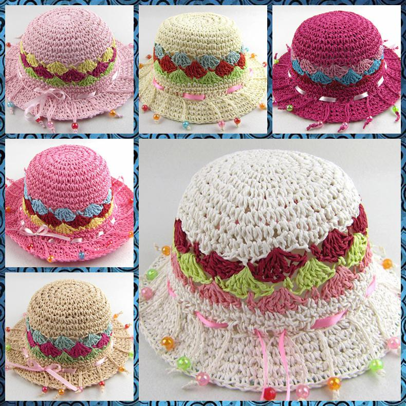 2019 Pure Hand Knitted Baby Cap Girl Hat Beads Straw Hat Baby Hat Princess  Hat From Charm girls 5ae5e783192
