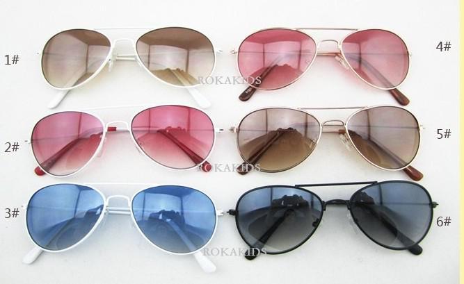 2017 moda hotsale muti-cor moda óculos de sol das crianças, vidro do miúdo, anti-uv, uv 400, misturar 6 cores 10 pçs / lote
