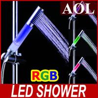 Wholesale Led Color Changing Hand Shower - Magic Shower Head Water Temperature Sensitive Color Change LED Hand Shower RGB Colorful LED Light
