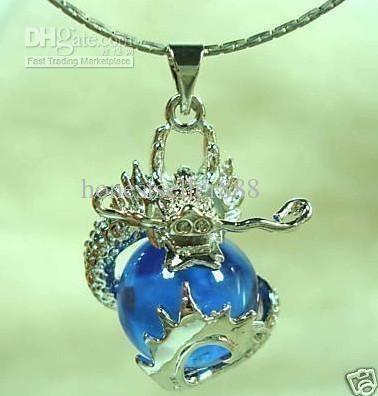 Groothandel goedkope blauwe jade gesneden draak hanger ketting