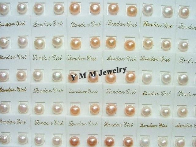 Orecchino perle d'acqua dolce di alta qualità perle 8mm gioielli perla naturale 50 paia all'ingrosso