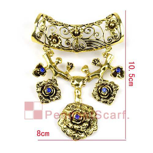 Top Fashion Navy Blue Rhinestone Oversized Antique Bronze Alloy Necklace Scarf Flower Pendant Set Charm, AC0188A