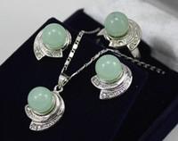 Wholesale 18k Jade Ring - Wholesale cheap New! Beautiful silver crystal green jade pendants Stud earrings rings