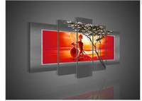 Wholesale Large African Art Wall Pictures - 5 Panel Wall Art African Abstract Large Cheap Nude Girls Oil Painting On Canvas Artwork Decorative Art Prints For Wall Decor