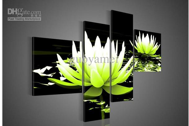 4 Piece Wall Art 2017 wall art no modern abstract flower water lily green oil