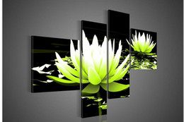 Wholesale Modern Water Abstracts - 4 Piece Wall Art No Modern Abstract Flower Water Lily Green Oil Painting On Canvas Paint Pictures Decor