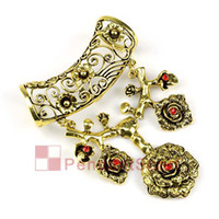 Wholesale Scarf Pendant Antique Bronze - 2PCS LOT, Hot Fashion DIY Necklace Scarf Findings Red Rhinestone Antique Bronze Large Flower Pendant Set Charm, Free Shipping, AC0188B