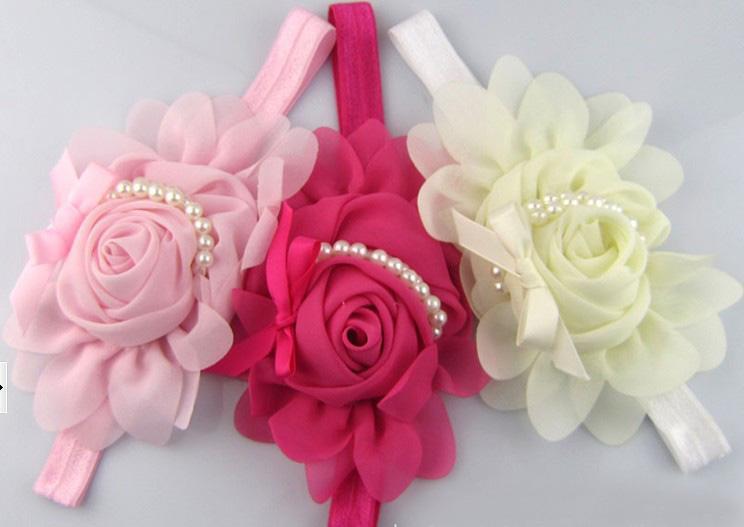 Baixo preço misto 8 cores Chiffon pérolas rosas cabeça menina pérolas rosas cabeça do bebê acessórios de moda headwear