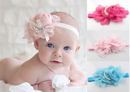 photography prop pearls Canada - Colorful Baby Girls chiffon Headband for Photography props rose pearl flower Headbands 15pcs lot