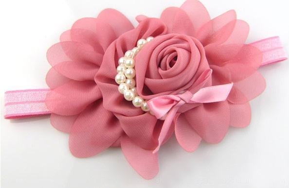 Prezzo conveniente misti i in chiffon rosa perla fascia ragazza rose accessori headwear perla moda fascia del bambino