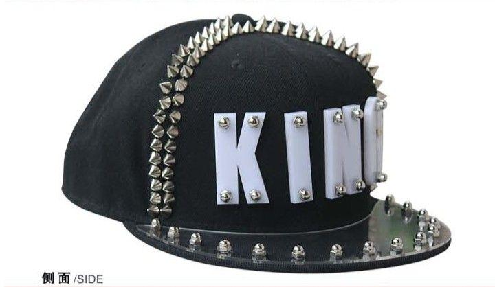 Men Studded Hats King Baseball Caps Adjustable Hats