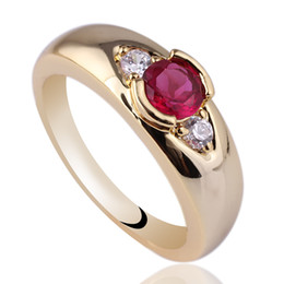 Wholesale 4mm Red Ruby - Elegant Women's Band Red 4mm Ruby 24k Gold Filled Sterling Silver Ring 925 NAL GFL Size 6 7 8 R119