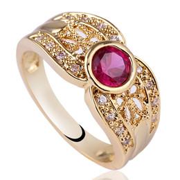 Las mujeres elegantes redondas de encaje rojo rubí talla 18 K oro lleno de plata esterlina 925 anillo NAL GFL Sz 6 7 8 R124 desde fabricantes