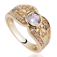 Wholesale carved diamond ring - Women Round Lace Carve White Diamonds 18K Gold Filled 925 Sterling Silver Ring NAL GFL Sz 6 7 8 R124