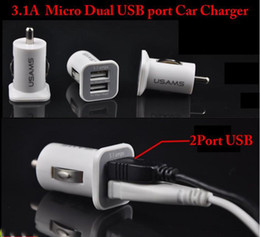 Wholesale Usb Adaptor For Ipad - Mini Bullet Dual USB 2-Port Car Charger Adaptor For iPhone 4 4S 5 iPad2 iPad Mini