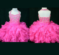 Wholesale Cute Tight Red Dress - Sweet cute halter tight dazzling beaded hot pink ruched organza mini length flower girl pageant dress ZW63
